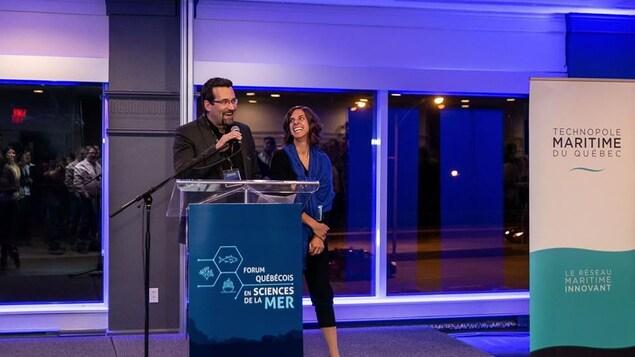 Guillaume St-Onge, directeur du Réseau Québec maritime (RQM), Institut des sciences de la mer de Rimouski, lors du Forum québécois en sciences de la mer à Rimouski