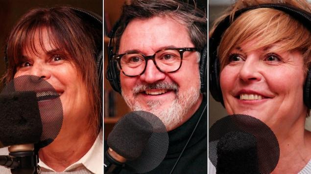 Montage de photos de Guylaine Tremblay, François Papineau et Marie-Chantal Perron devant des micros de radio.