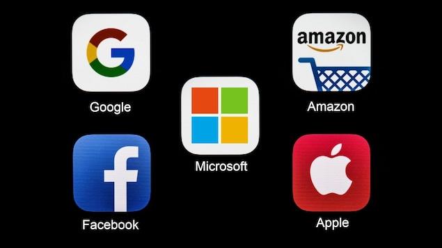 Les logos des géants de l'internet : Google, Apple, Facebook, Amazon et Microsoft (GAFAM)