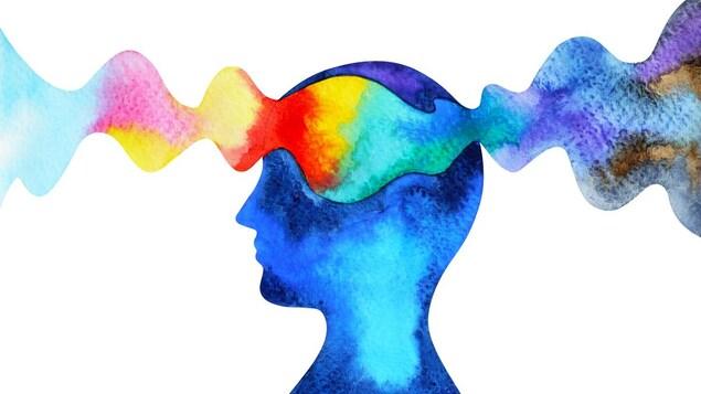 Dessin d'un personnage de profil dont le cerveau est traversé par des ondes colorées.