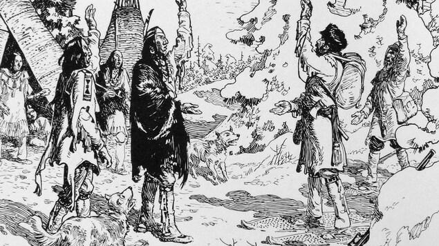 Pierre-Esprit Radisson salue des Autochtones dans leur camp.