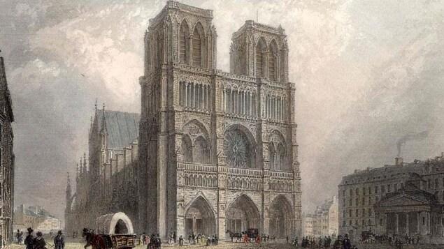 Une gravure de la cathédrale Notre-Dame en 1860