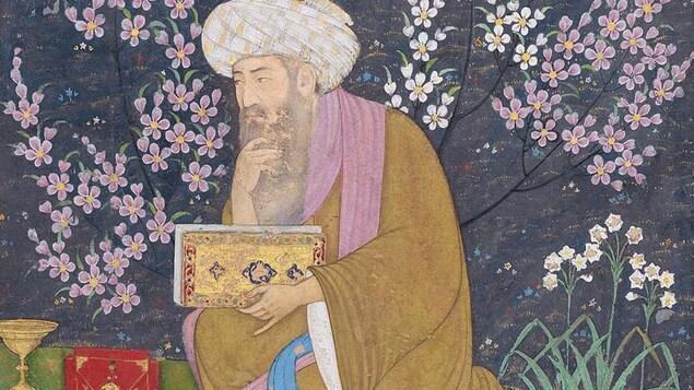 Fragment de folio d'album avec érudit dans un jardin. Attribué à Muhammad Ali 1610-15