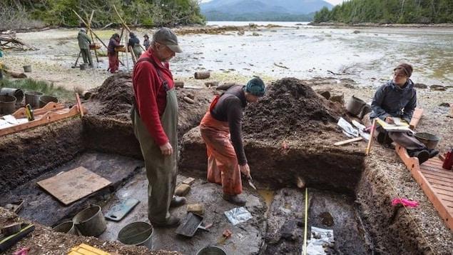 Des gens font des fouilles archéologiques sur le bord de l'eau.