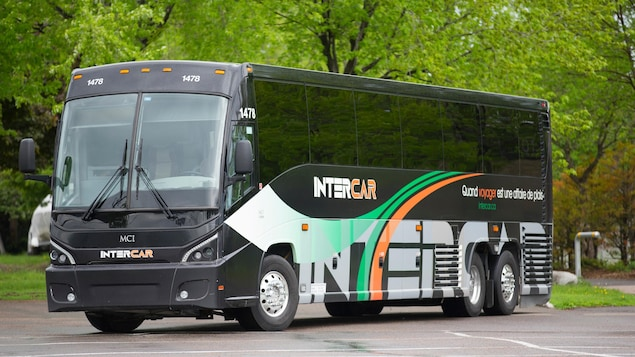 Un autobus du service de liaison Intercar, dans un stationnement entouré d'arbres, en été.