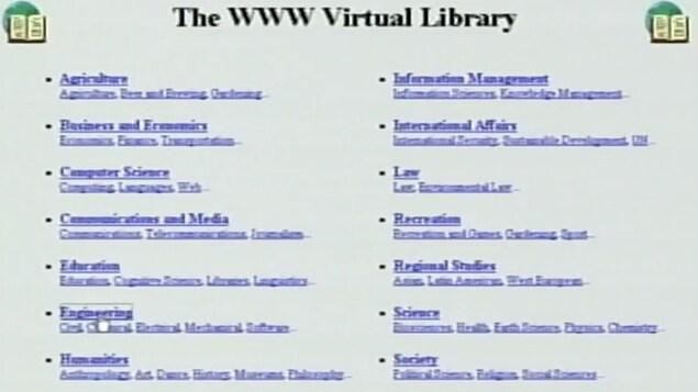 Page d'introduction au World Wide Web au début des années 1990