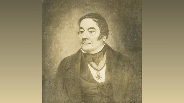 Tableau en noir et blanc représentant un homme du 19e siècle.