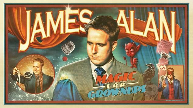 Carte de visite du magicien torontois James Alan au graphisme inspiré par les affiches anciennes de publicité pour les magiciens