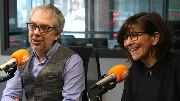 Jean-Marc Salvet et Marie Grégoire, en studio