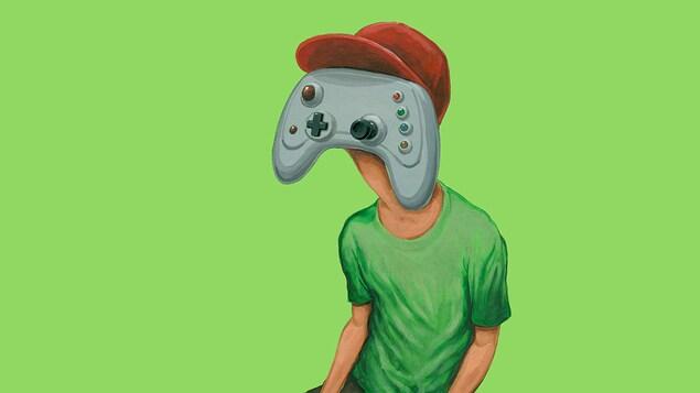 Illustration d'un jeune homme à tête de manette de jeux vidéo