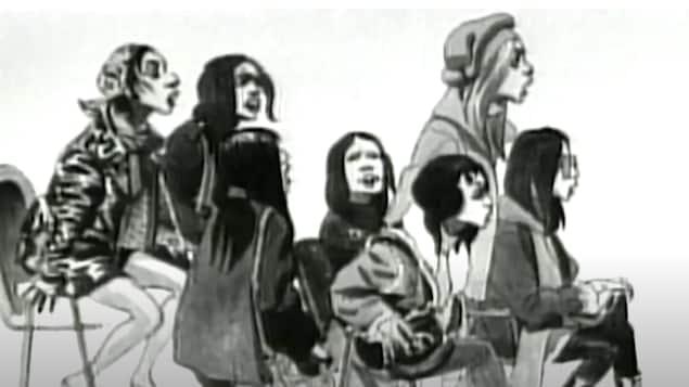Dessin en noir et blanc du 1er mars montrant les sept militantes au moment de leur intervention lors du procès de Paul Rose.