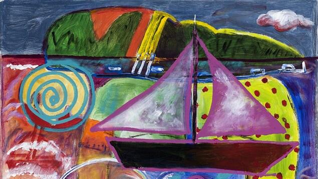 """Œuvre """"Une île sur le dos"""" de la peintre Kittie Bruneau."""