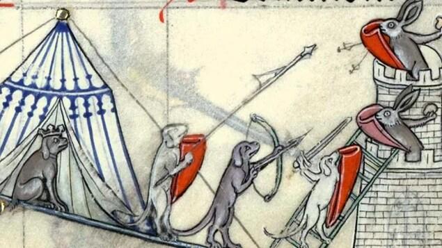 Des chiens attaquent une tour d'un château qui abrite des lapins.
