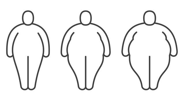 Des pictogrammes montrent des croquis de personnes de formes de plus en plus grosses, qui se succèdent.