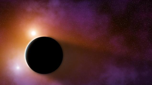Illustration graphique d'une planète mystérieuse dans l'univers.