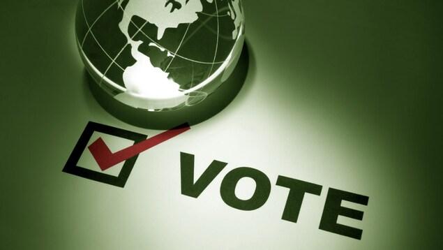 Logo de planète, et de bulletin de vote.