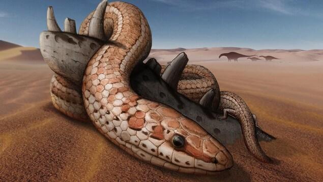 Un dessin d'artiste illustre un serpent beige et brun, muni de pattes arrière, dans un environnement préhistorique.