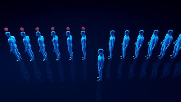 Une série de silhouettes humaines, certaines infectées, d'autres pas.