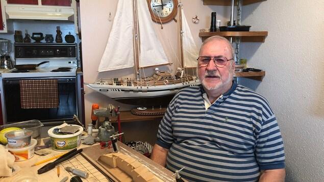 Laurent Giasson, marin retraité de Sept-Îles, concepteur de maquettes de bateaux