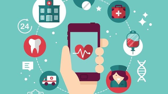 Un dessin d'une main avec un téléphone et des icônes sur le thème de la médecine.