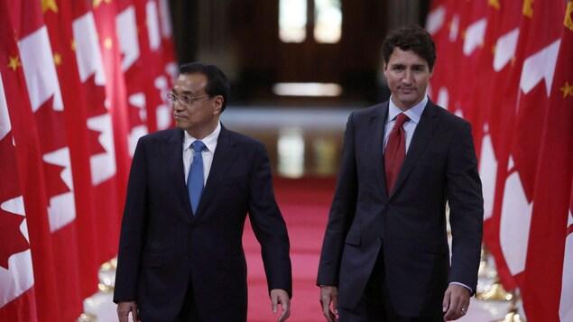 Un photo montre le premier ministre chinois Li Keqiang et le premier ministre canadien Justin Trudeau lors d'une visite officielle du haut dirigeant chinois, le 22 septembre 2016