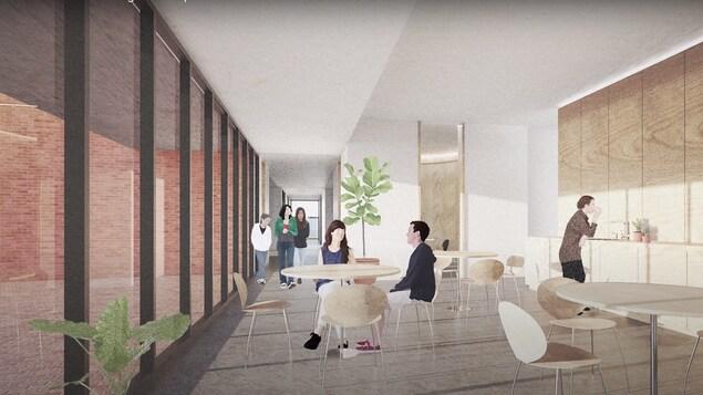Image montrant des personnes dans une aire commune dotée d'un mur vitré et où se trouvent des tables et des chaises.