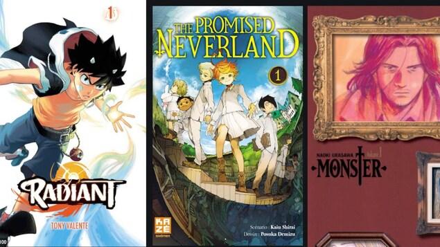 Les couvertures de trois mangas