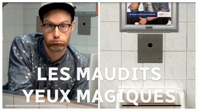 Marc-André Carignan arborant une mine découragée devant le miroir d'une salle de bain publique.