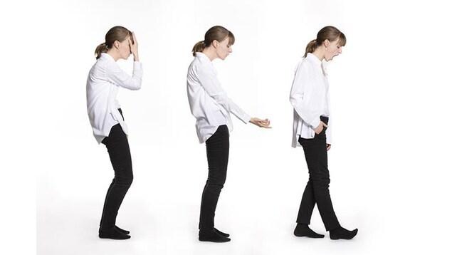Une femme déclinée en trois photos.