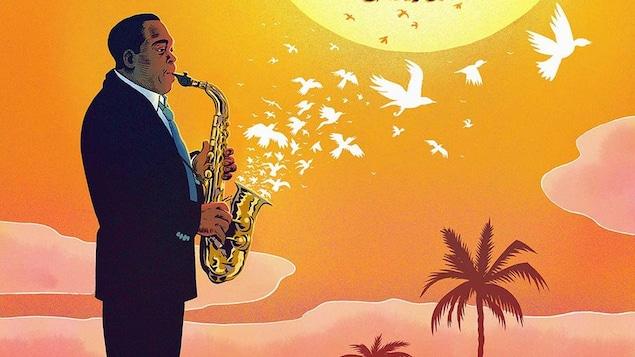 Une planche du roman graphique Chasin' the Bird: Charlie Parker in California qui montre une illustration du célèbre musicien de jazz Charlie Parker