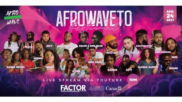 Affiche du festival Afrowave avec les photos des artistes participants sur fond rose et violet.