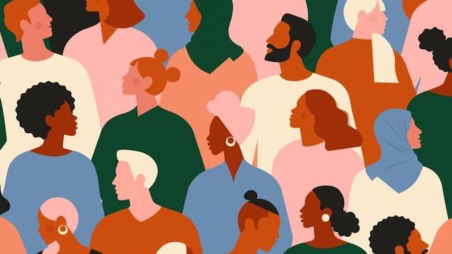 Illustration de silhouettes de personnes d'origines différentes.