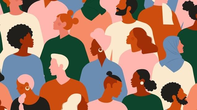 Illustration de silhouettes personnes d'origines différentes.