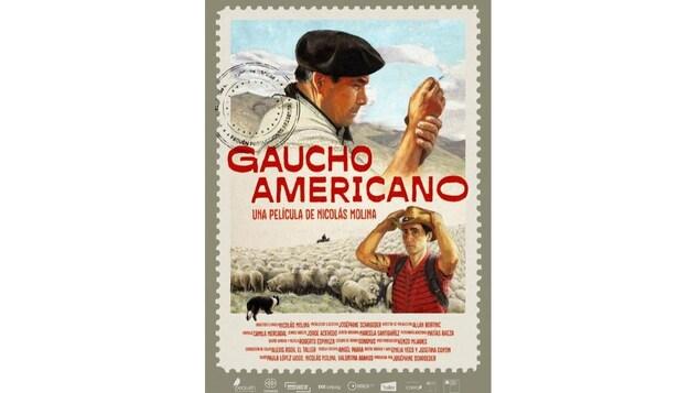 L'affiche au style rétro représente les deux héros du film, deux gauchos avec un troupeau de moutons et un chien.