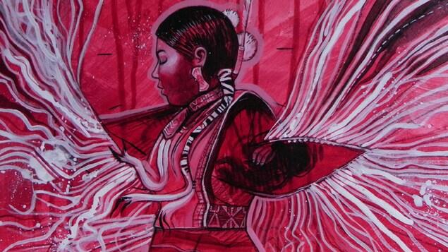 Shawl dance, une oeuvre de la peintre Maud Besson. Il s'agit une jeune amérindienne qui exécute la danse du châle. La toile est dans les teintes de rouge.