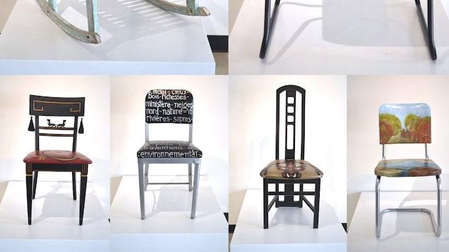 Quelques-unes des chaises transformées par l'artiste