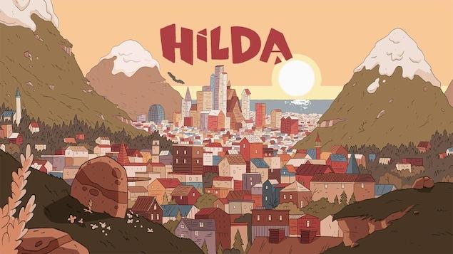 Un paysage dessiné qui présente une vue d'ensemble d'une communauté entourée par trois montagnes enneigées