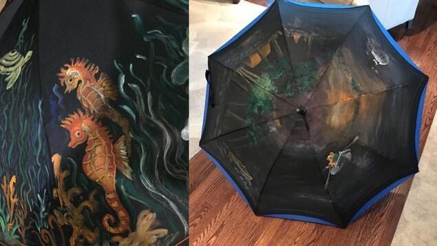 Trois images de parapluies peints avec des paysages naturels dont une scène aquatique, une scène de camping et le portrait d'un cheval.