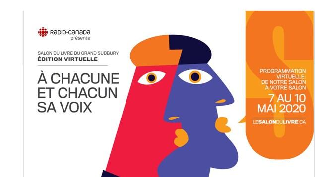 Affiche colorée de l'édition virtuelle du Salon du livre du Grand Sudbury, qui se tient du 7 au 10 mai 2020.