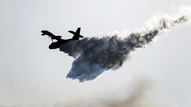 Un avion-citerne déverse de l'eau sur le site d'un incendie de forêt.