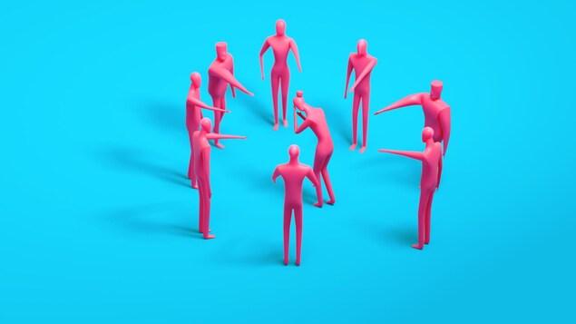 Une illustration montre des personnages montrant du doigt un des leurs.