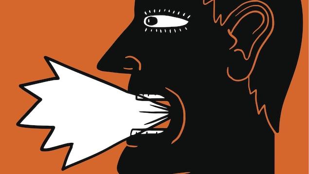 Un dessin montre une personne qui parle fort.