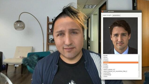 Une fausse vidéo montrant le visage du premier ministre canadien Justin Trudeau superposé sur le corps d'un inconnu.