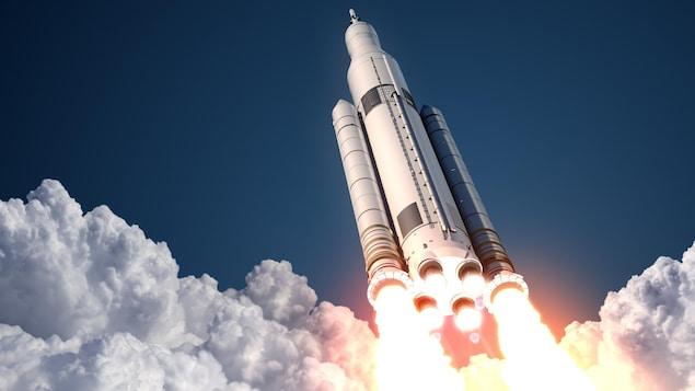 Une navette spatiale décolle.