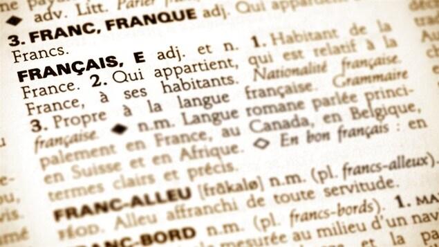 La page d'un dictionnaire est ouverte.