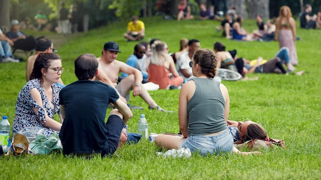 Des personnes se rassemblent dans un parc public de Montréal.