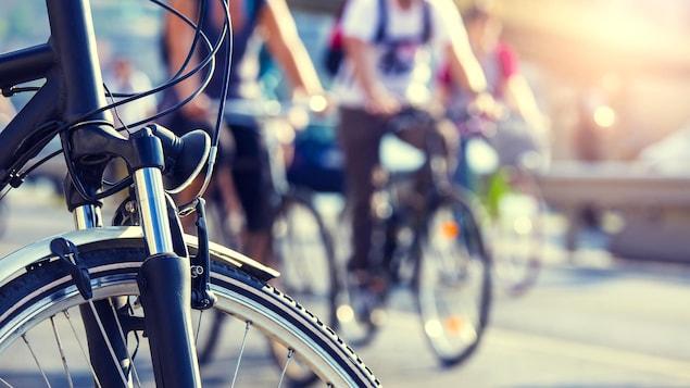 Des cyclistes circulent dans une rue.