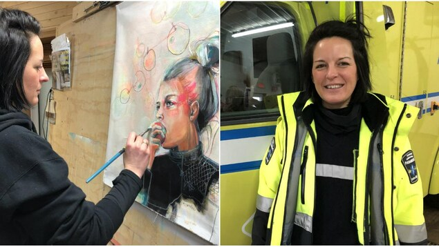 Sur la photo de gauche, Michelle Larouche peint dans son atelier, sur celle de droite, elle pose devant l'ambulance dans son uniforme d'ambulancière