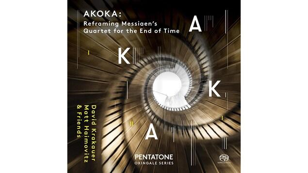 Pochette de l'album <i>Akoka: Refraiming Messiaen's Quartet for the End of Time</i> de Matt Haimovitz et David Krakauer, paru sous étiquette Pentatone