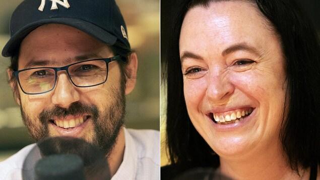 Un homme portant une casquette et une femme sourient devant un micro.